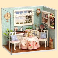 Wholesale Wooden Doll Kitchen - Wholesale- DIY Multicolor Wooden Handmade Doll Hut Kitchen Model With Dust Cover Gift