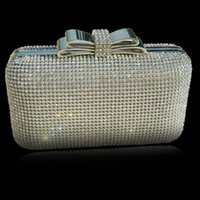 Wholesale Clutch Metal Frames - 2016 Net Diamond Encrusted Box Clutch Sequin Evening Bag Women Purse with Metal Frame Crystal Bow Clasp Hollow Out - XP035