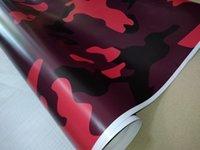 araba film baskısı toptan satış-Ubran Kırmızı Büyük Camo Vinil Hava Wrap Ile Araç Wrap Için Parlak / Mat Kamuflaj Çıkartmalar Filmi Kamyon Baskılı kendinden yapışkanlı 1.52X30 M (5x98ft)