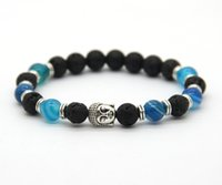 Wholesale Charms Whosale - Whosale 10pcs lot 8mm New Blue Agate Stone Beads Men's Buddha Energy Yoga Bracelets,best gift