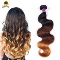 Wholesale piano hair resale online - 2016 Clearance Sale Ombre Hair Unprocessed Brazilian Body Wave Peruvian Indian Malaysian Human Hair Extensions