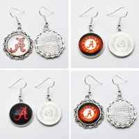 Wholesale sports team jewelry - 10Pairs Charm Sports Team NCAA Alabama Glass Stud Earrings Drop Earrings For Women Jewelry Gift