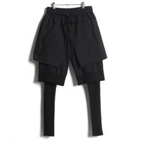 Wholesale Personality Pieces - Wholesale-Avant Garde Design Men's Trendy Personality Culottes Hairstylist Fake Three Pieces Trousers Skinny Layered Pencil Pants