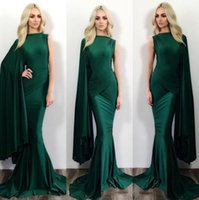 Wholesale silk zipper jacket - Dark Green Mermaid Evening Dresses One Shoulder Stylish Formal Celebrity Party Wears Floor Length Prom Dresses BA0787