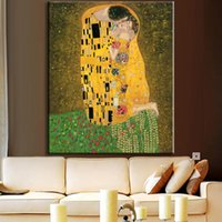 Wholesale Picture Replicas - Hand Paint Replica Of The Kiss From Gustav Klimt modern abstract oil painting cuadros abstractos gustav klimt painting