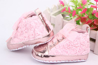 4 couleurs Rose Flower Dentelle Baby Kids Chaussures pu cuir Soft Bottom Prewalker Taille Toddler Taille