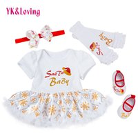 Wholesale Three Years Girls Clothes - Newborn Girl Christmas Clothing Santa Printing Baby infant romper Ruffle Tutu Dress Leg warmers Shoes My First Xmas New Year Clothing Sets