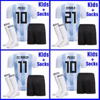 Wholesale Kids Argentina - Argentina KIDS Soccer Jersey 2018 Argentina boys youth kits DYBALA Messi kun Aguero Di Maria Child football soccer shirt uniform with socks