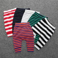 Wholesale Girls Striped Tights Black White - 2016 Baby Cotton Leggings Newborns Boys Girls Striped Trousers Toddler Infants Fall Haren Tights PP Pants
