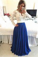 Wholesale Modest Long Prom Dresses - Royal Blue Ivory Lace Chiffon Long Modest Prom Dresses With Long Sleeves V Neck Pearls Open Back Elegant Seniors Formal Evening Prom Gowns