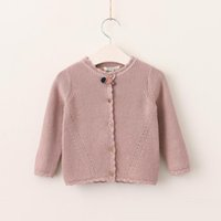 Wholesale Hand Crochet Baby Sweaters - Baby Clothing Autumn 2017 Kids Girls Crochet Hallow Out Cardigan Baby Girls knit Sweater Girls Clothes Children Outwear
