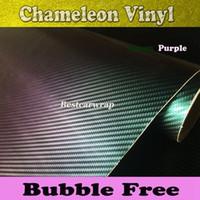 Wholesale Green Chameleon Carbon Fiber Wrap - Green to Purple Chameleon 3D Carbon Fibre Vinyl with Air Bubble Free For Car vinyl wrap covering FOIL size 1.52x30M 4.98x98ft