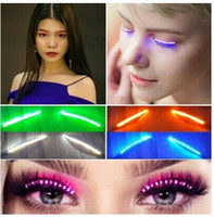Wholesale Lash Extension Kits Wholesale - F.Lashes LED Eyelashes Flashing Interactive Glowing Lash Kit Waterproof Eye Lash Extensions Handmade Lashes Christmas Halloween Party Club