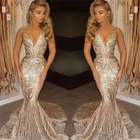Wholesale Luxury Prom Dresses Sale - Sexy African 2018 New Luxury Gold Mermaid Prom Dresses V Neck Prom Gowns Vestidos Special Occasion Dresses Evening Wear Hot Sale