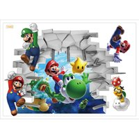 Wholesale Mario Bedroom - Wall Stickers pvc 3d cartoon Super Mario Bros Boy Room Kids Art Decal Mural Kids Nursery Decals bedroom Home Decor