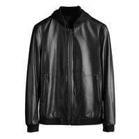 Wholesale Genuine Leather Jackets For Mens - 2017 fall new mens luxury designer leather jacket ~removable hooded sheepskin leather jackets for men~mens bomber jacket