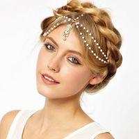 Wholesale alloy chain hair band online - Chic Boho Women Pearl Gold Wedding Headdress Headband Head Band Crown Chain Headpiece Layers Hair Chain Jewelry Drop Free
