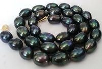 Wholesale Baroque Tahitian Pearl Necklace - Noble 12-13mm baroque Tahitian black green pearl necklace 18 14K gold clasp