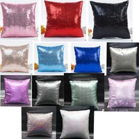 Wholesale Throw Pillows For Sofas - Sequins Pillow Case Pure Color Throw Cushion Cover Home Decor Decorative Cushion Covers for Sofa 40*40cm LJJK763