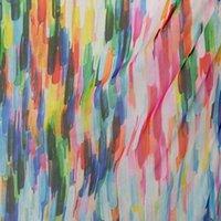 Wholesale Digital Printed Silk Chiffon Fabric - dpc-33058 Abstrative Rainbow Stripes 100% Pure Silk Digital Printed Silk Chiffon Fabric 6 momme for DressMaking By Meter