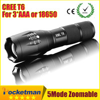 Wholesale Diving Torch T6 - High Power CREE XML-T6 5 Modes 3800 Lumens LED Flashlight Waterproof Zoomable Torch lights