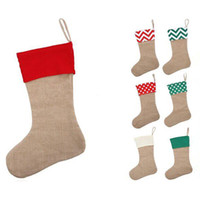 Wholesale Plain Cloths - 12*18inch high quality 2017 canvas Christmas stocking gift bags canvas Christmas Xmas stocking Large Size Plain Burlap decorative socks bag