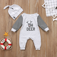 Wholesale Girls Stripped Tops - Christmas Baby Pajamas Kids fashion rompers Oh deer letter printed baby girls boys stripped Nightwear+Hat 2-piece outfit Cotton top outfits
