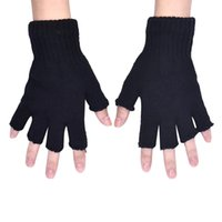 Atacado- Womail 1pc Men Black Knitted Stretch Elastic Warm Half Finger Fingerless Gloves guante luva