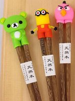 Wholesale Educational Chopstick - New Cartoon Connected Wooden Chopsticks children and foreigners learning chopsticks educational chopsticks In stock Free shipping