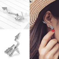 Wholesale Womens Stud Earrings Free Shipping - 12 Pcs lot Brand New Womens Arrow Earrings Crystal & Alloy Silver Planted Stud Free Shipping[GE03144*12]