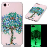 Wholesale Iphone Skin Tree - For Iphone 7 Iphone7 Plus Glow in Dark Luminous Case feather Flower Tree Cute Painting skin Soft TPU Gel Clear cover cases 5pcs 10pcs