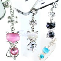 Wholesale Crystal Cat Dust Plugs - F98 2016 newestFree Shipping 3.5mm Jack Cat Crystal Dust Plug Anti Earphone Cap Stopper For iPhone 6 Samsungfree shipping