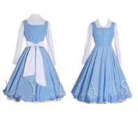 Wholesale Costume White Apron - Cosplay Costume Blue White Maid Gown Apron Dress
