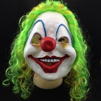 Wholesale Colorful Carnival Masks - New Clown Mask Long Curl Colorful Hair Latex Mask Carnival Halloween Mask Masquerade Party Costume free shipping