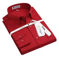Wholesale Square Dances Dresses - Wholesale-2016 Mens Long Sleeve Bright Red Wedding Dress Shirt Square Collar Classic-fit Comfort Soft Solid Formal Shirts For Dance Prom