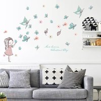 Wholesale Good Cartoon People - 148cm X103cm Kids Growth Chart Height Measure Wall Sticker Good Quality Paster for DIY Kid's Room - Happy Pretty Girls and Butterfly and Flo
