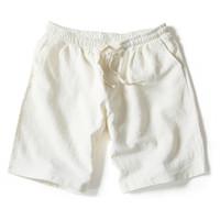 weiße leinenhose männer großhandel-Wholesale-2016 Sommer neue Männer Leinen Shorts Causual lose Strand kurze Hosen für Männer Fashion Solid White Lauf männlichen kurze Hose