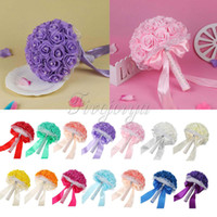 Wholesale Lace Ribbon Decorations - Fashion Wedding Bouquet Artificial Foam Rose Flowers Bridal Bouquet with Lace Pearls Rhinestone Satin Ribbons Bow Wedding Favors Decorations