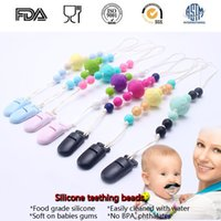 Wholesale Handmade Baby Jewelry - Fashion Handmade Baby Chew Teething Nipple Clip Nursing Jewelry Food Grade Silicone Nipple clip Holder Teether Chain For Baby Teething