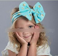 Wholesale Butterfly Headband For Baby - Children hair accessories 2016 New Butterfly Gold Polka Dot Kids hairbands for hair glitter bow Baby Girls headbands H182