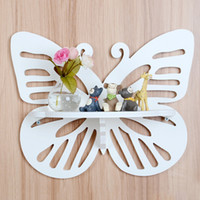 Wholesale Decorative Wood Shelves - Newest Butterfly Wooden Hook Clapboard Shelf Wall Rack Home Decorative Furniture Wall Shelves For Living Room Holder Bathroom Shelf (Color: