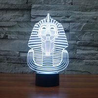 Lumières D'egypte Pas Cher-Vente en gros - Nouveauté Lighting 3D Illusion LED Night Lights Colorful Egypt Sphinx Lampe de table pour fête Jouets pour enfants Home Decor Bar Lamp