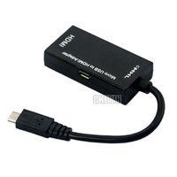 Wholesale Usb 19pin - Computer Cable MHL Micro USB ( 5pin) to HDMI (19pin) Adapter Mini portable devices MHL to HDMI Free Shipping DDA20H-(41)