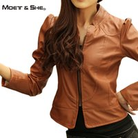 Wholesale Camel Coat For Women - Wholesale-Moet &She New Brand Design Faux Soft Leather PU Short Jacket For Women Stand Collar Wash Motorcycle Coat Color Camel C66273R