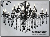 Wholesale Crystal Black Chandelier Lamp - Vintage Black 24 Arms Chandelier Crystal Light Fixture Large American Princess Wrought Iron Lustre Hanging Lamp MD2520 L24