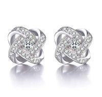 Wholesale Love Studs Earrings - Shinning Crystal Stud Earrings Love Forever Women Jewelry White Bohemian Women Wedding Earring Jewelry 925 Sterling Silver Stud Earrings