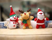 plush snowman großhandel-3 Arten-Weihnachtsgeschenk-Schneemann-Ren-Sankt-Plüsch spielt hängende Plüsch-Puppen-Weihnachtsdekoration Freies Verschiffen