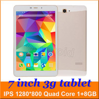 7 pouces 3g phablet Android 4.4 MTK8382 Quad Core 1 Go écran GPS Bluetooth 8 Go ROM 3G Phone Call WIFI IPS 1280 * 800 5pcs PC Tablet double caméra