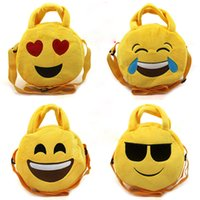 Wholesale Novelty Emoji Smile Face Bags Round Tote Shoulder Bag Cross Body Messenger Bag Kids Children Plush Toys Birthday Xmas Gift