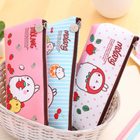 Wholesale Cute Rabbit Leather Case - Wholesale-Kawaii Cute Molang Rabbit PU Leather Pencil Case Stationery Storage Box School Office Supply Escolar Papelaria Pouch Cosmetics